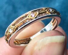 18k White & Yellow Rose Gold Milgrain Ring w Diamonds. 3/4 Eternity Band--K1L6J9