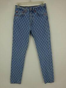 Levis 501s Skinny Checkered / Check Pattern Denim Jeans ~ 26/27 1/2