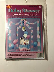Baby Shower Canopy Covers Approximately 20'x20' Pink And Blue Assembled New NOS