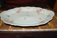 O&E.G. Royal Austria Pink Rose & Leaf Design Platter / Tray 15 3/8""