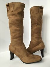 "Women's Size 9.5 Brown Tall Boots, 3.5"" Heel Faux Suede by Etienne Aigner"