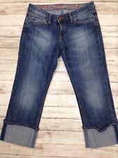 MAVI Miriam Dark Wash Low Rise Straight Denim Jean Capris Pants Cuffed Size 28