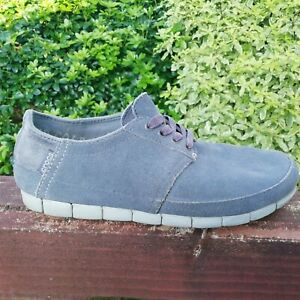 Mens CROCS Suede Leather Shoes STRETCH YOUR SOLE  SIZE M-8 (UK 7) VGC in GREY