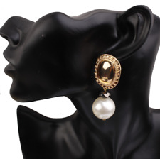 Women Earrings Boho Bohemia Elegant Charm Big Large Drop Pearl Dangle Ear Stud