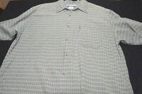 L.L. Bean Nylon Large Green White Plaid Short Sleeve Men's Shirt