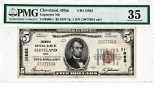 $5 1929 T1 Engineers National CLEVELAND Ohio OH ((Highest Grade on Census))