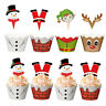 24Pcs Christmas Theme Cake Cupcake Toppers Wrappers Cases Wraps&Toppers Decor