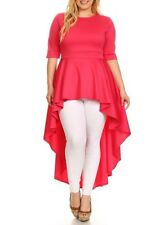 Plus Size Hi Lo Cascade Peplum Dress Top Blouse Tunic