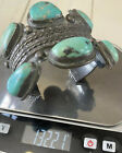 Early Old Pawn Navajo Thick Handwrought Sterling Turquoise Cuff Bracelet 132+GR