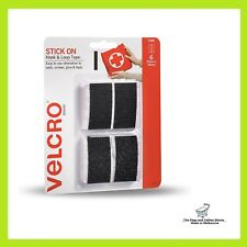 VELCRO® Brand 25 x 50mm Black Stick On Hook And Loop Tape - 6 Pack