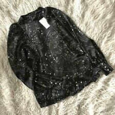 ZARA BLACK GALAXY PRINT FLOWING BLOUSE WITH PEARL BEADS SIZE M