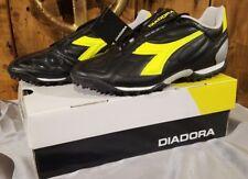Diadora Men's DD Eleven R TF Turf Soccer Shoes Size 7 Black Fluorescent Yellow