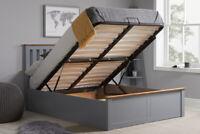 Phoenix Ottoman Bed 4FT 4FT6 5FT Pearl Grey Stone Grey Optional Mattress Birlea