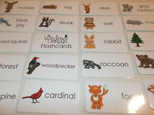 Woodland Animals Picture Word Flash Cards. Preschool Educational Reading Activit