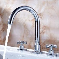 Chrome Brass Bathroom Basin Mixer Tap Dual Cross Handle 3 Hole Faucet for Vanity
