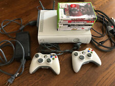 Microsoft Xbox 360 System Bundle White Console 6 Games 2 Controllers Tested Wifi