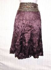 ANTHROPOLOGIE Matty M Banded Brown Gold Sequin Waist Crinkled Skirt Size: 6