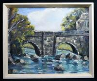 Original Irish Art Oil Painting Glenarm Castle Bridge Co. Antrim c1965