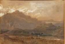 Fine Antique Watercolor Landscape Painting by WILLIAM LEIGHTON LEITCH