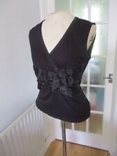 PER UNA BLACK PEARL SPARKLY SLEEVELESS V NECK FITTED EVENING TOP BNWT NEW 14 M&S