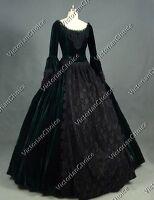 Victorian Gothic Velvet Dress Prom Gown Steampunk Reenactment Punk Costume 153