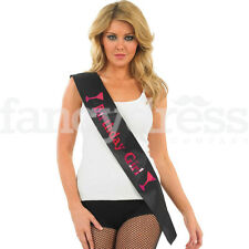 Ladies Black Pink Happy Birthday Girl Sash Night Out Party Present Gift NEW