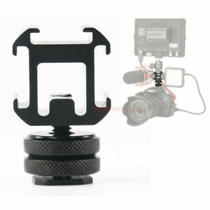 Three Head Extend Port Connect Microphone Use On Camera Mount Hot Shoe Base Set