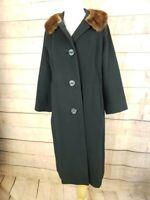VINTAGE DAVIS Womens L Black 100% Cashmere Dress Coat w Fur Collar 3/4 Sleeve