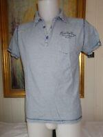 Polo coton blanc rayé bleu DYNK BRAND NAVY L/G 42 manches courtes brodé dos