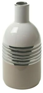 26cm Bottle Shaped Ceramic Beige & Silver Decorative Flower Vase 3 Toned Design