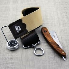 Men's Shaving Kit With Leather Strop,Black Straight razor & Paste.Set 3 for Him