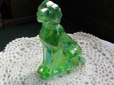 Labradore (Sitting) Green Opal Carnival - Mosser Glass USA