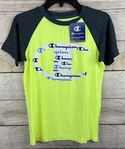 Champion Short Sleeve T-Shirt Boys Size 7/8 Yellow W/ Gray  - NEW