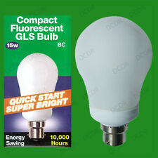 2x 15W (=75W) Low Energy Power CFL Quick Start GLS Light Bulbs, BC, B22, Bayonet