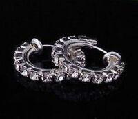 CLIP ON diamante crystal RHINESTONE hoops HOOP EARRINGS