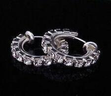 Clip su Diamante Cristallo Rhinestone HOOPS Hoop Orecchini