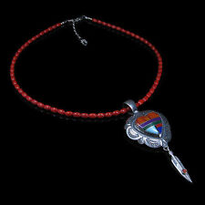 .925 Sterling Silver Genuine Red Coral Multi-gemstone Heart Necklace