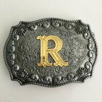 Men Initial Vintage Letters Pattern Cowboy Belt Buckle DIY Gift