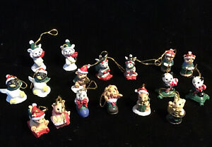 """Set 17 Vtg Mini Christmas Critter Feather Tree Ornaments Painted Polystone 3/4"""""""