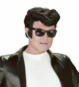 Male Black Greaser Wig Danny Teddy Boy Elvis Wig 1950's Men Fancy Dress BW686