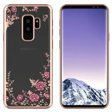 For Samsung Galaxy S9+ Plus - TPU RUBBER DIAMOND CASE ROSE GOLD FLOWER BUTTERFLY