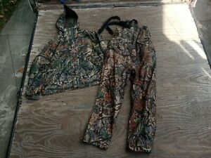 Cabelas Dry Plus Scentlok Hunting Jacket and Pant/Bibs Set Timber Seclusion Camo