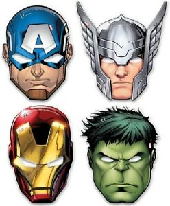 Avengers Face Mask Party Mask Superhero Partyware Children's Party 6 Per Pack