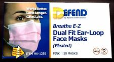DEFEND BREATHE E-Z DUAL FIT EAR-LOOP FACE MASKS PLEATED MK-1256 PINK 50 MASKS
