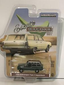 1969 VW T3 Squareback Estate Wagons 1:64 Scale Greenlight 29970B