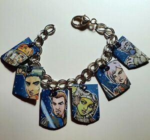 Star Wars Rebels Silver Charm Bracelet Kanan Hera Ezra Sabine Zeb Chopper