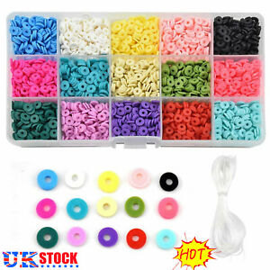 Flat Polymer Clay Beads Spacer for DIY Bracelets Jewelry Making Finding UK STOCK