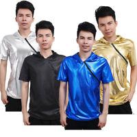 Men's Short Sleeve Top T-Shirt Undershirt Clubwear Zip Muscle Gym Workout Tank