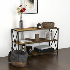 3 Tier Rustic Entryway Table Console Table Side Sofa Table W/ Open Bookshelf New