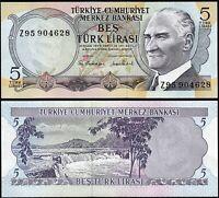 Turkey 5 Lira 1970 - 1976, UNC, REPLACEMENT, Prefix Z 95, P-185